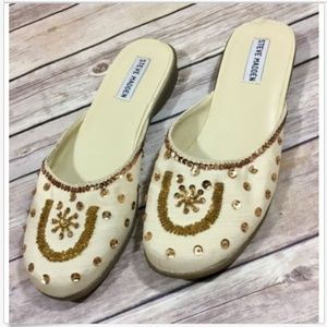 🌿Steve Madden P-Ragin Slip On Flat Mules Gold 7.5